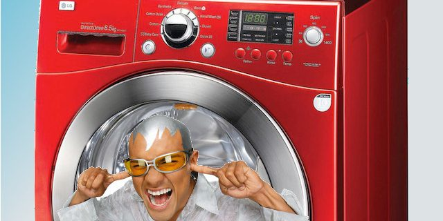 De wasmachine maakt herrie